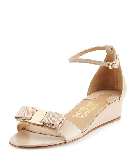 Bow Wedge Sandal, New Bisque