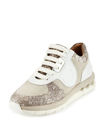 Morgan Mixed-Media Trainer Sneaker, White