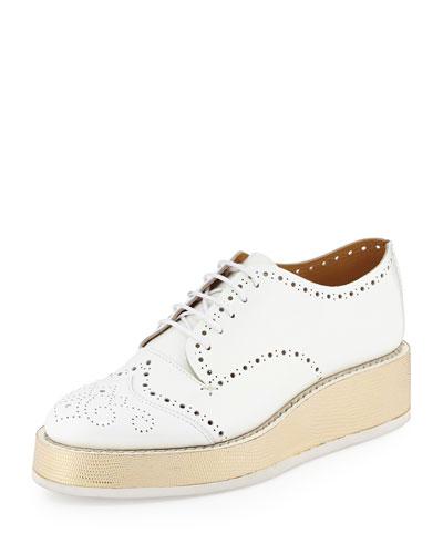 Platform Leather Oxford, White