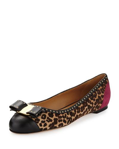 Varina Calf-Hair Ballet Flat, Leopard