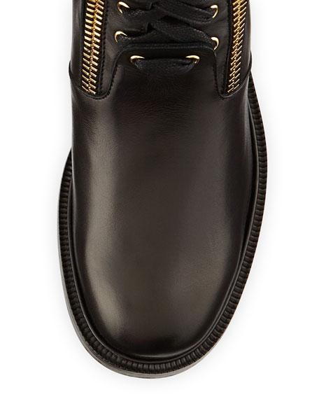 Fur-Cuff Combat Boot, Black