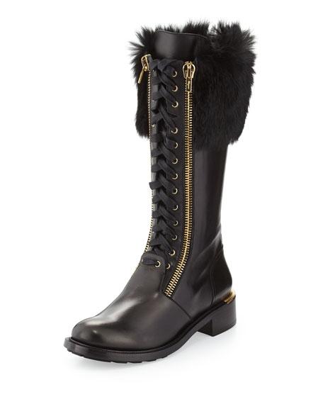 Salvatore Ferragamo Lapo Fur-Cuff Combat Boot, Black