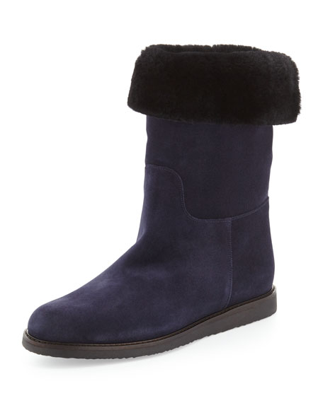 Short Suede Boot, Oxford Blue