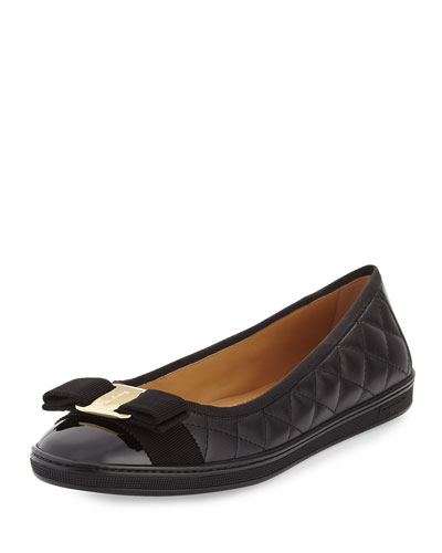 Rufina Quilted Ballerina Flat, Black