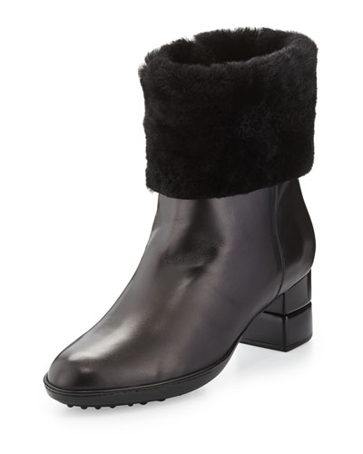 My Cold Shearling Ankle Boot, Black