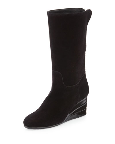 My Winter Suede Wedge Boot, Black