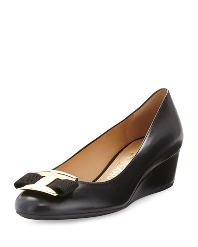 Ninna Leather Wedge Pump, Black
