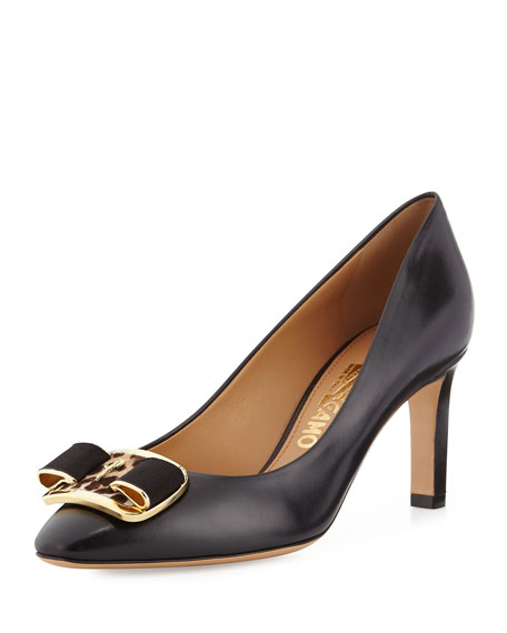 Salvatore Ferragamo Lola Leather Bow Pump, Black
