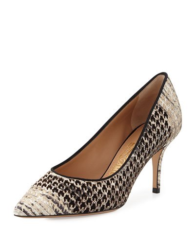 Susi Houndstooth-Pattern Pump, Black/Cream