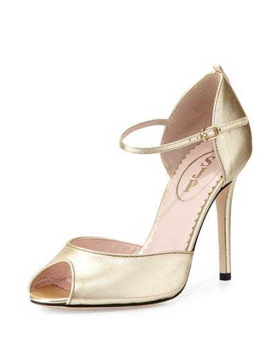 Ursula Metallic Peep-Toe d'Orsay Sandal, Gold