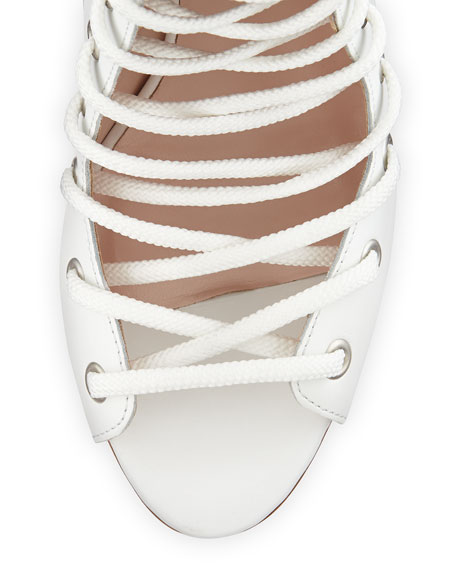 Alison Leather Lace-Up Bootie, White
