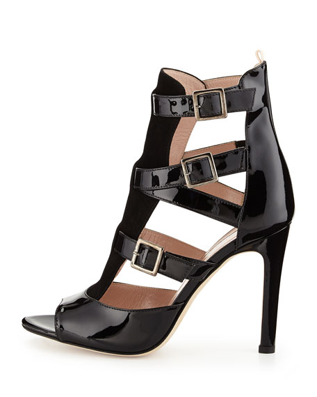 Gina Strappy Patent Sandal, Black