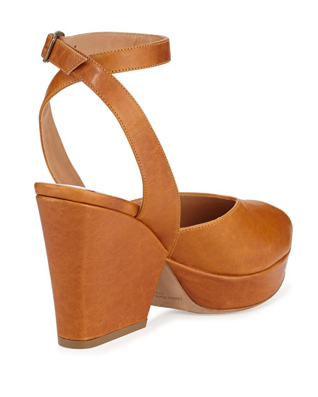 Waxed Leather Platform Sandal, Brown