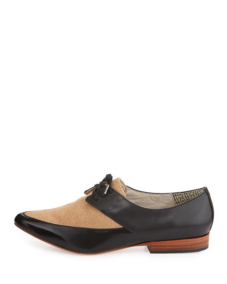 Darby Wool & Leather Oxford, Black/Camel