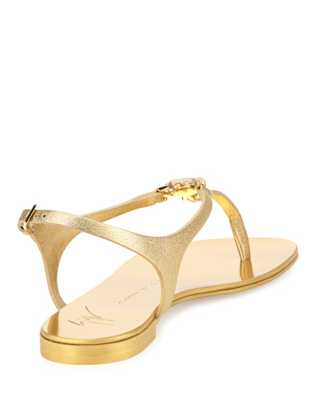 Metallic Leather T-Strap Sandal, Gold
