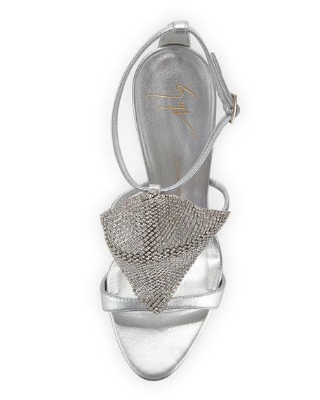 Crystal Mesh Metallic Sandal, Silver