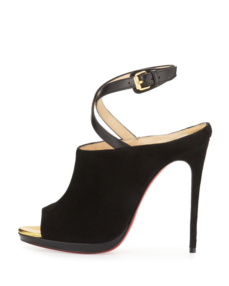 christian louboutin suede mules Black and gold peep toes ...