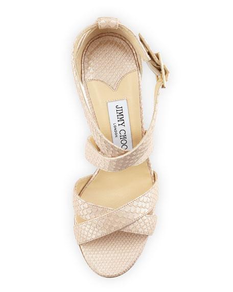 Louise Snake-Embossed Leather Sandal, Nude