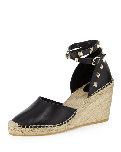Winnie Studded Espadrille Wedge, Black