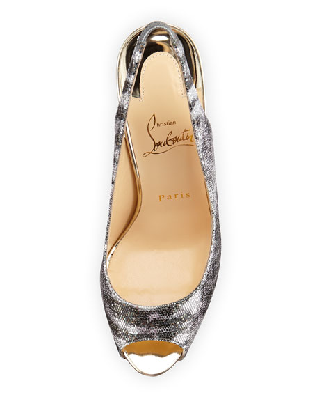 Lady Peep Slingback Red Sole Platform Pump, Silver/Light Gold