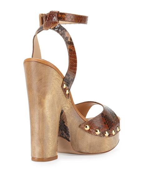 Zoee Wooden Python Platform Sandal, Caramel/Beige