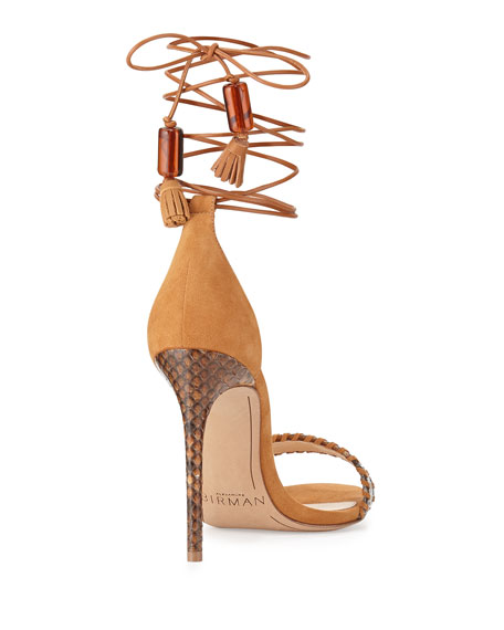 Toni Leather & Python Sandal, Macchia/Caramel