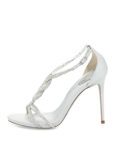 Twist-Strap Crystal-Embellished Sandal, Silver