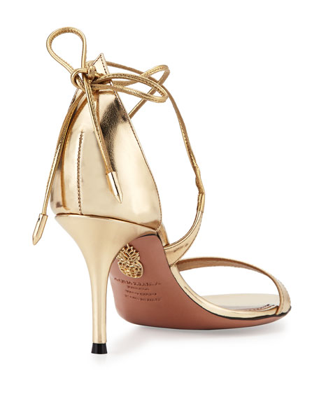 Linda Metallic Leather Sandal, Light Gold