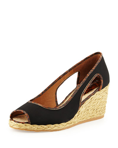 Charlot Crepe Wedge Pump, Black