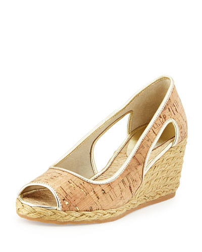 Charlot Cork Wedge Pump, Natural/Gold