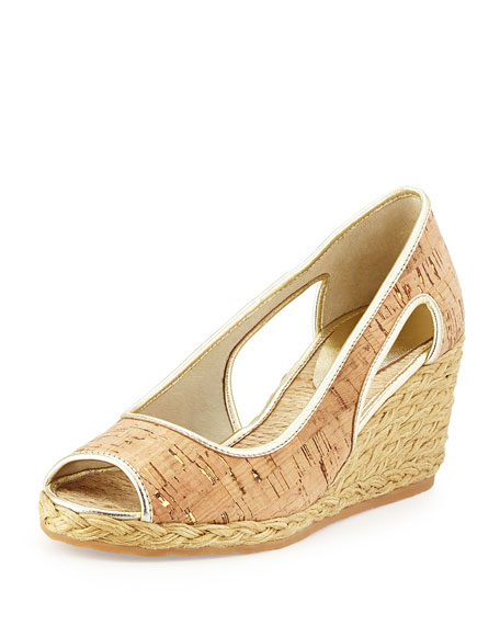 Donald J Pliner Charlot Cork Wedge Pump, Natural/Gold