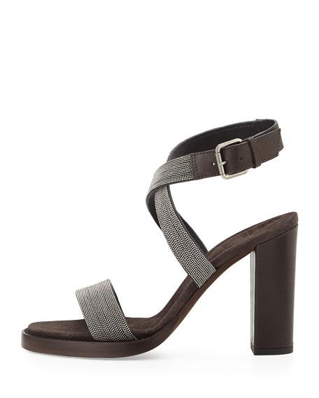 Monili Crisscross High-Heel Sandal, Graphite