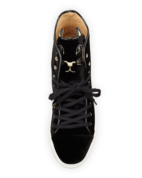 Purrrfect High-Top Kitty Sneaker, Black