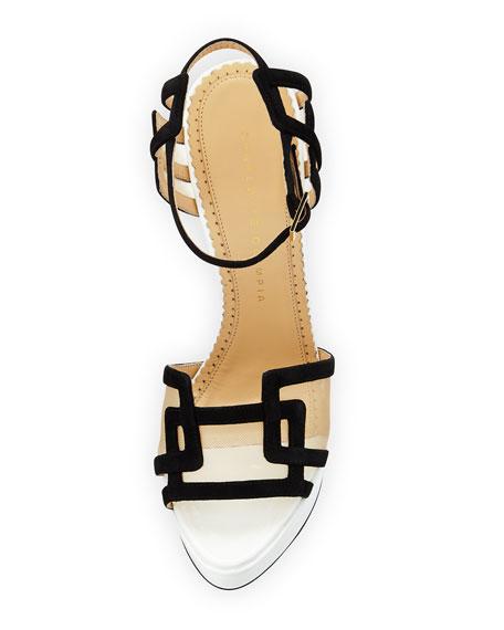 Geometric Patent Leather Platform Sandal, Black/White