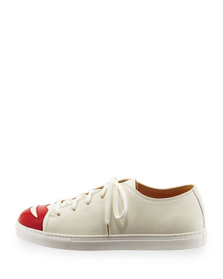Kiss Me Leather Sneaker, Off White