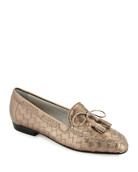 Sesto MeucciNicole Woven Leather Loafer, Pewter