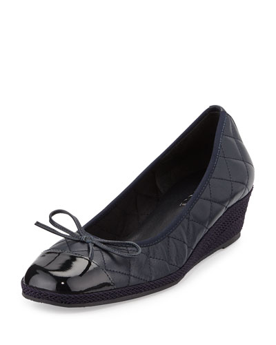 Margie Quilted Leather Wedge Pump, Navy