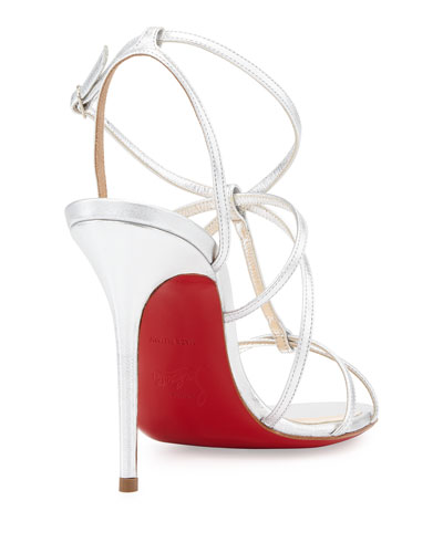 christian louboutin multi strap sandals Silver leather buckle ...
