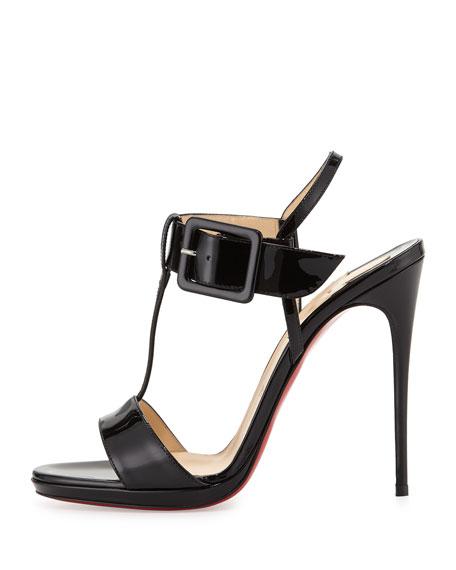 Beltega Patent Red Sole Sandal, Black