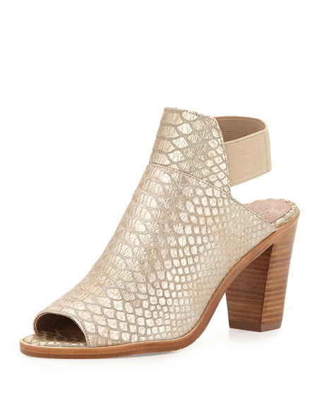 Khloe Snake-Print Open-Toe Bootie, Platino