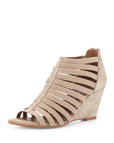 Pelle Strappy Wedge Sandal, Platino