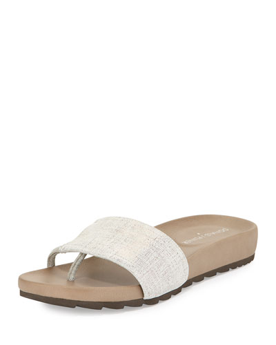 Tiso Distressed Leather Sandal Slide, Pewter