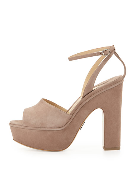 Paul Andrew Suede Chunky-Heel Platform Sandal, Taupe | Neiman Marcus