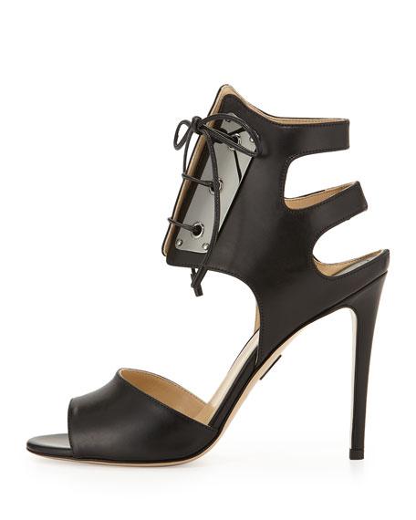 Leather Lace-Front Sandal, Black