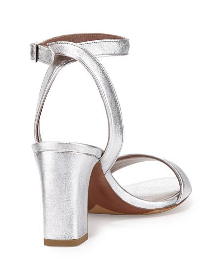 Leticia Metallic Ankle-Wrap Sandal, Silver