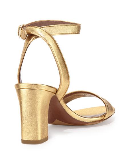 Tabitha Simmons Leticia Metallic Ankle-Wrap Sandal, Gold