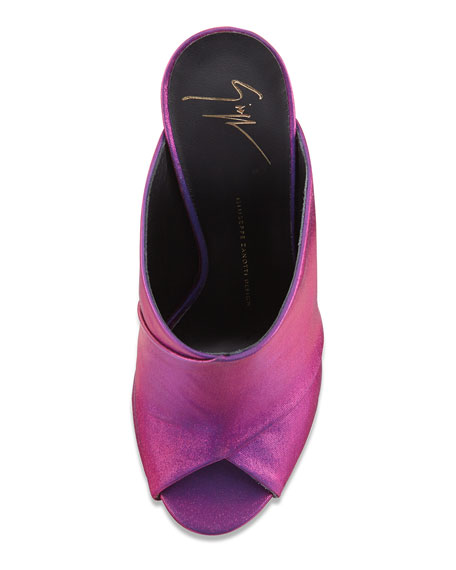 Metallic Satin Slide Sandal, Fuchsia