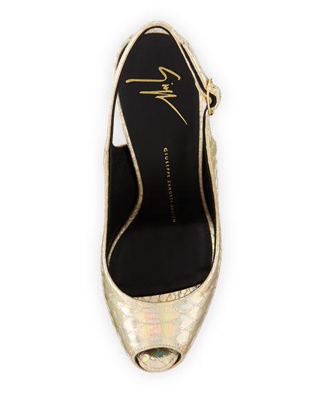 Giuseppe Zanotti Iridescent Platform Slingback Sandal