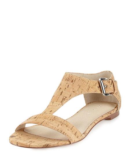 Tami T-Strap Cork Sandal, Natural/Silver