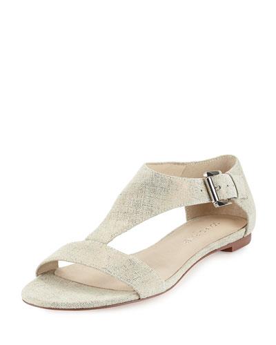 Tami Metallic T-Strap Sandal, Pewter
